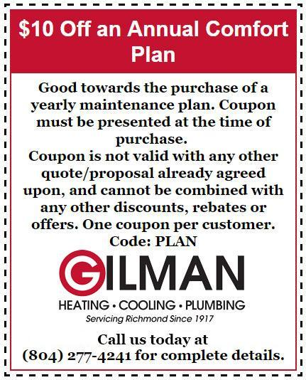 Seasonal Specials Gilman Heating Cooling Plumbing – Coupon Disclaimers