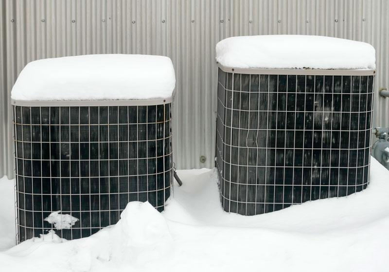 HVAC outside in snow